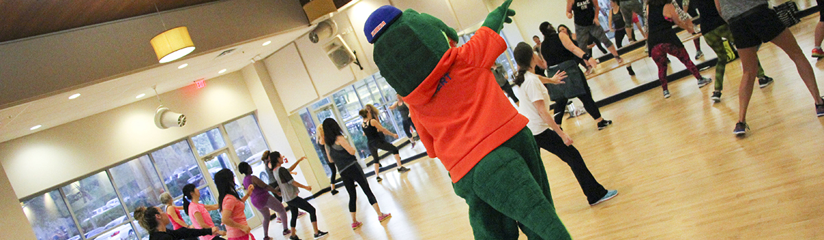 Albert the Alligator Attending a Group Fitness Class