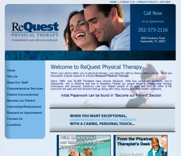 Click here to go to ReQuest Physical Therapy's new Web site, www.requestphysicaltherapy.com.