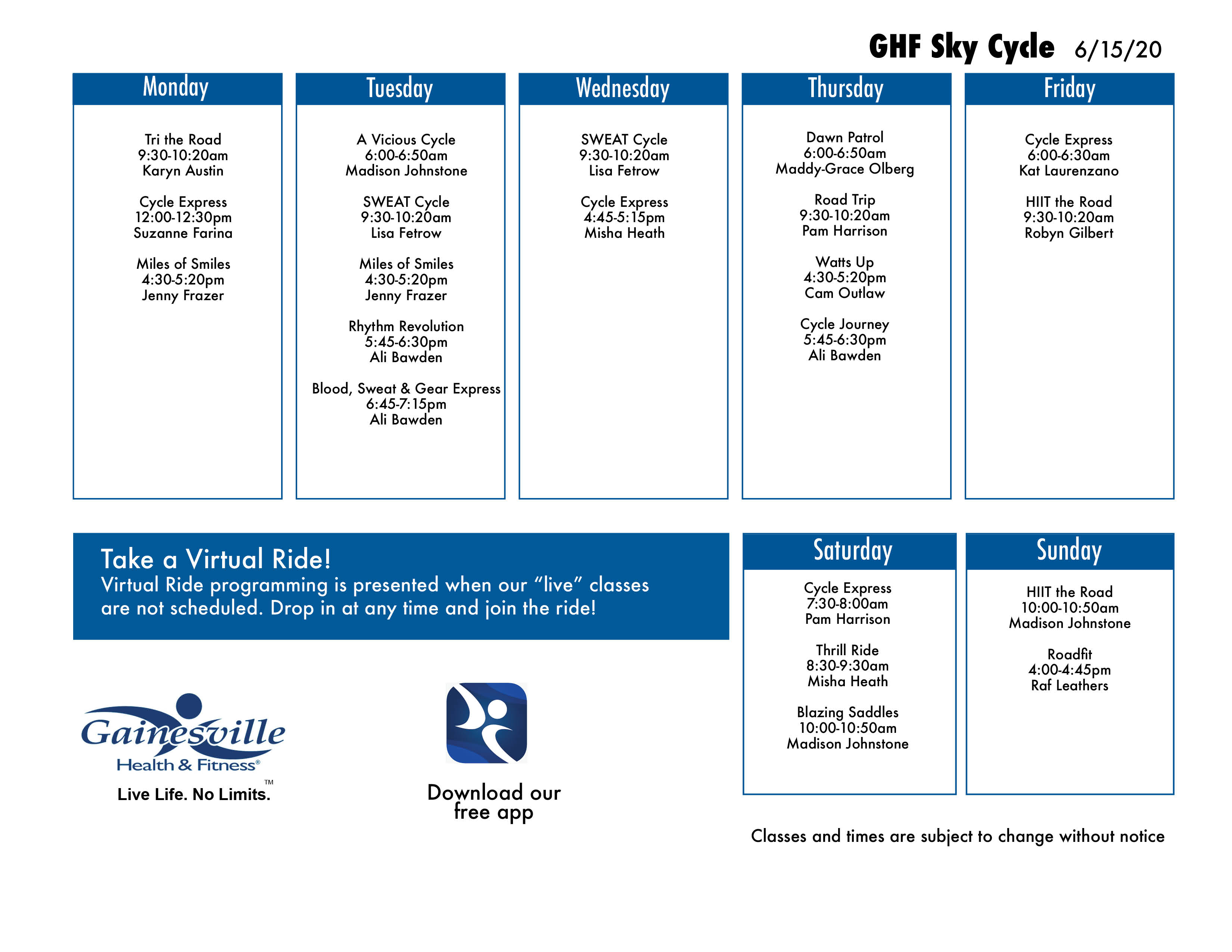 Cycle Schedule