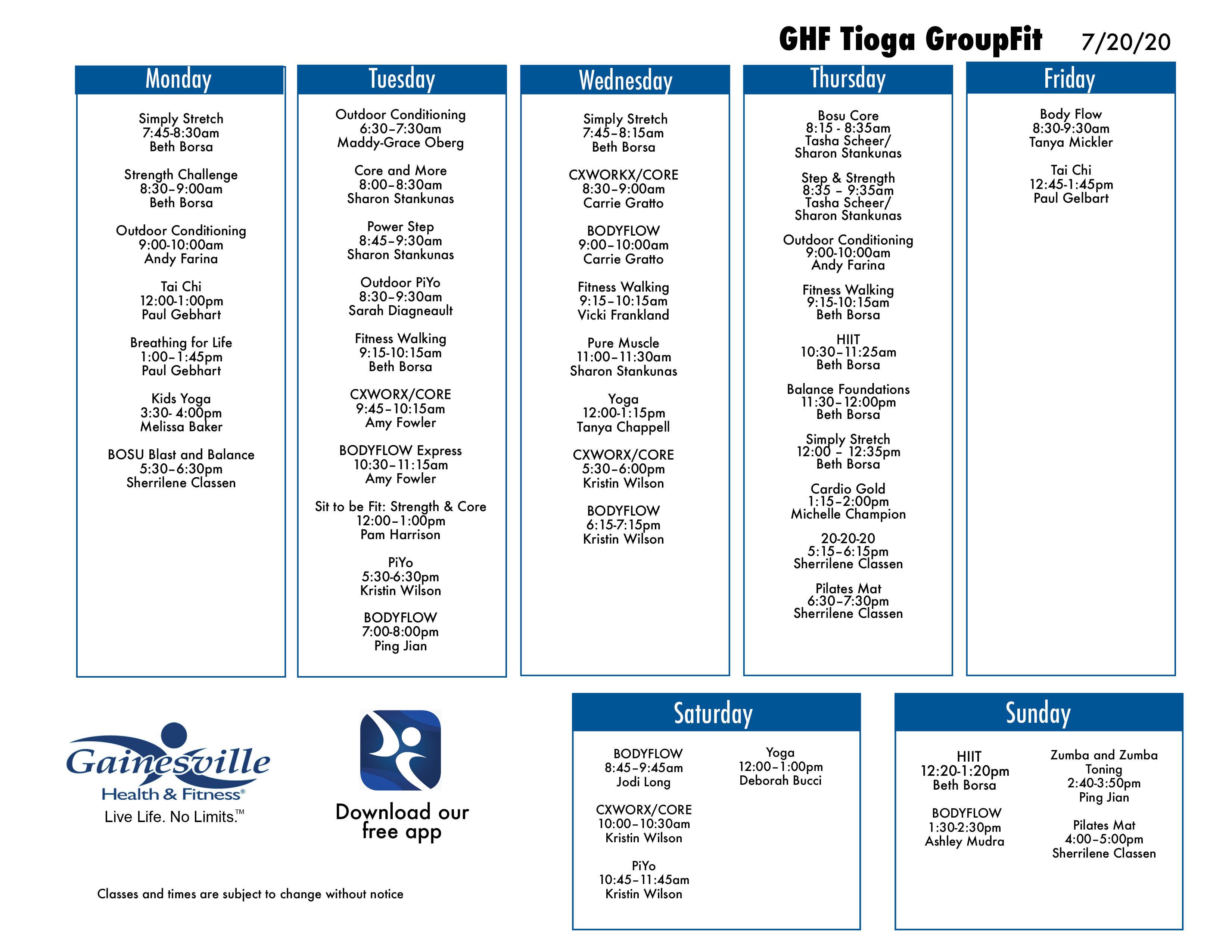 New Class Schedule