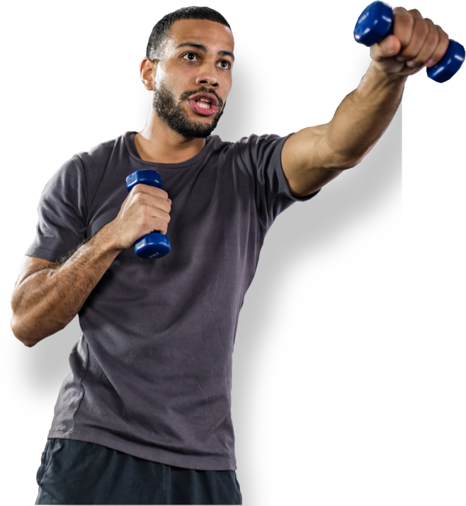 man working out with dumbells