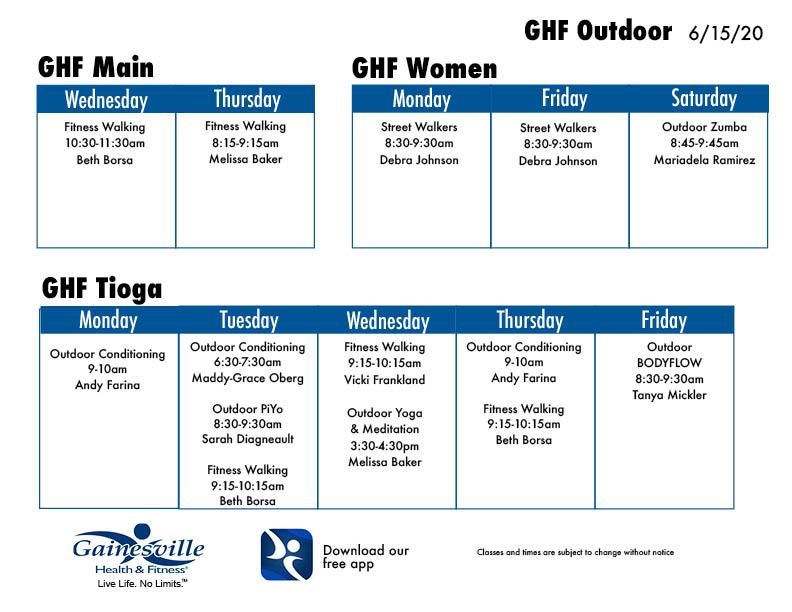 outdoor class schedule