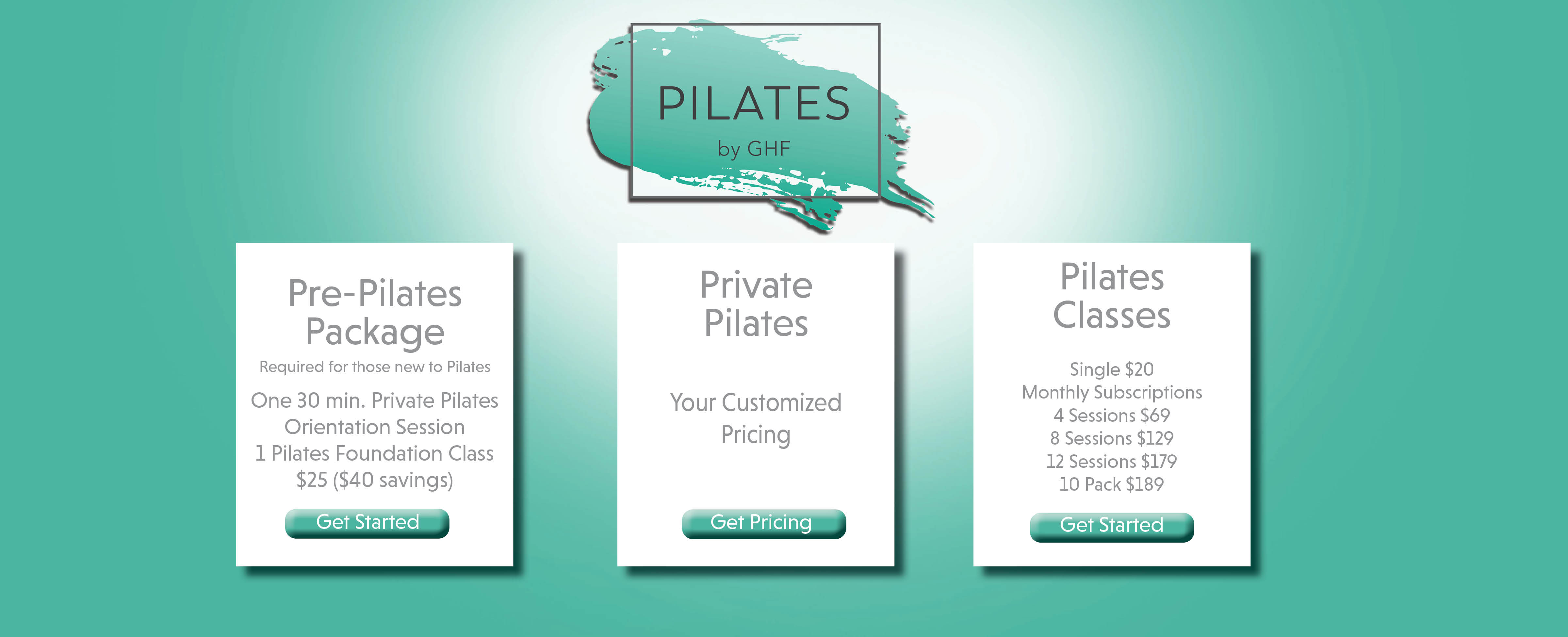 pilates pricing at ghf