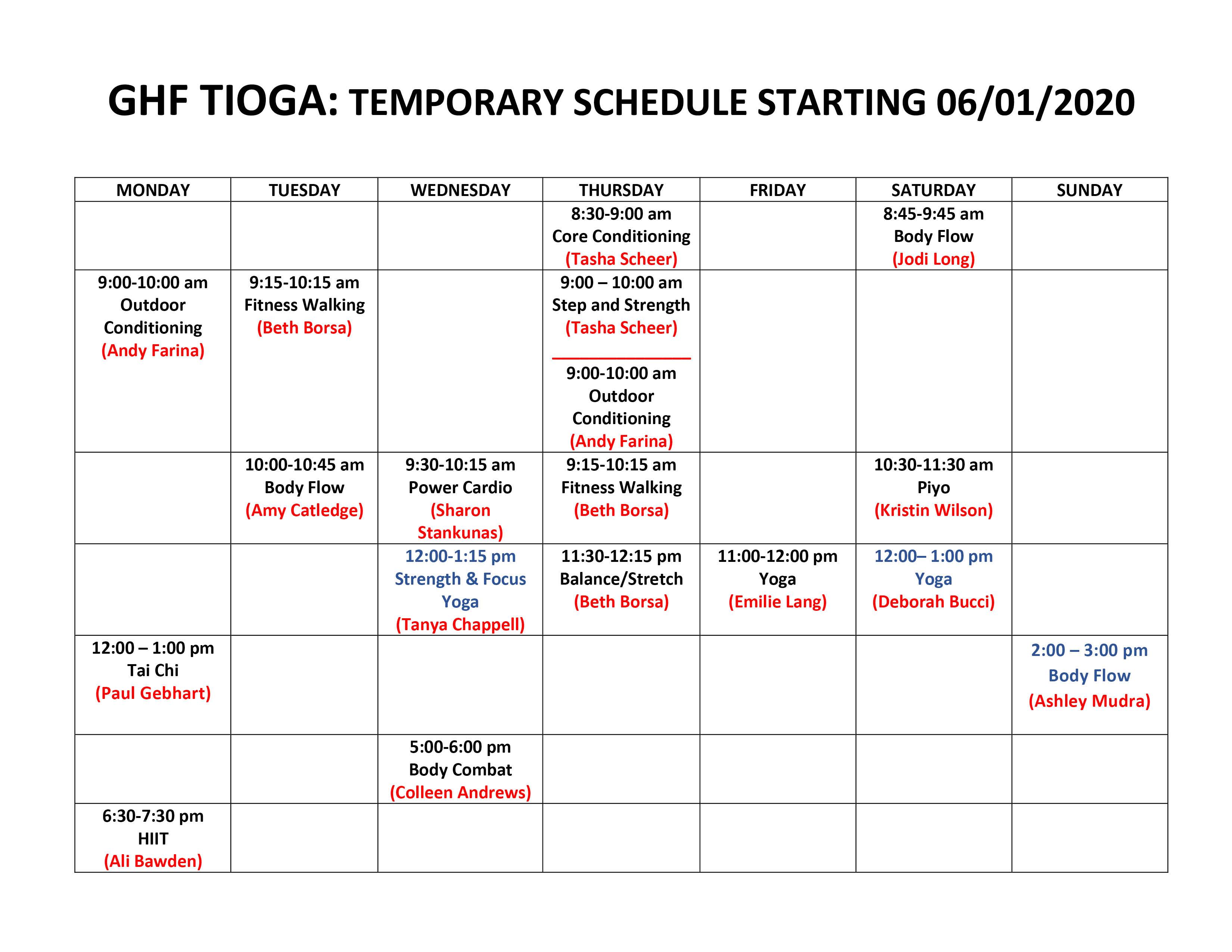 Tioga Schedule