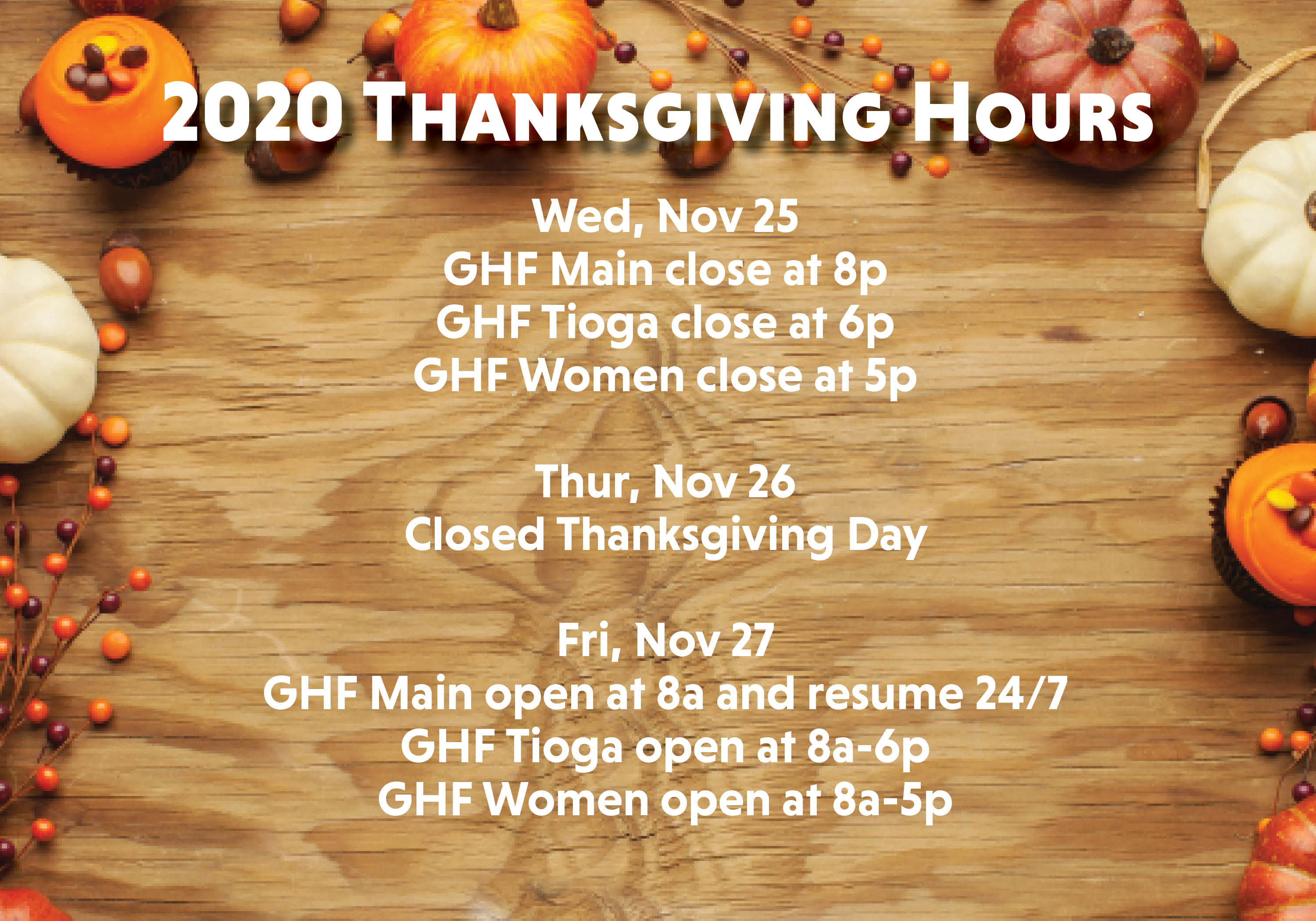 GHF Holiday Hours
